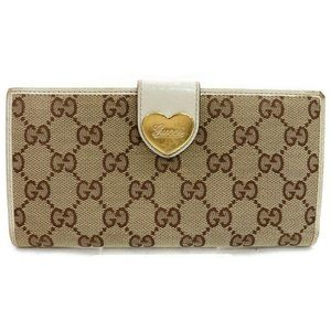 Auth Gucci Gg Heart Wallet Beige Canvas #N9325C43
